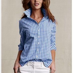 J. Crew perfect fit blue gingham button down shirt
